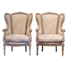 Pair of 19th Century Louis XVI Carved and Painted Ear Shape Fauteuils