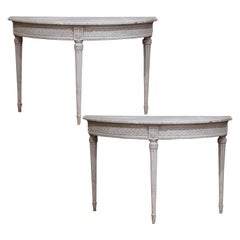 Pair of 19th Century Louis XVI Carved Painted Demi-Lune Console Tables