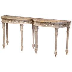 Pair of 19th Century Louis XVI Carved Painted Demilune Consoles with Marble Top