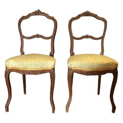 Pair of 19th Century Louis XVI French Side Chairs, Carved Oak Wood, circa 1840