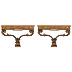 Pair of 19th Century Louis XVI Giltwood and Siena Marble Consoles