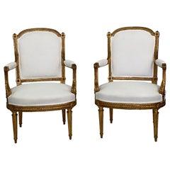 Pair of 19th Century Louis XVI Italian Gilded Armchairs