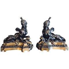 Pair of 19th Century Louis XVI Palatial Figural  Fireplace Chenets / Andirons