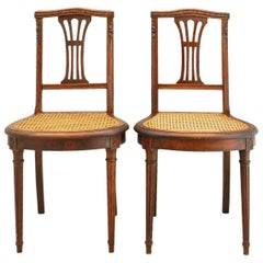 Pair of 19th Century Louis XVI Rev Side Chairs French Caned Seats, circa 1870