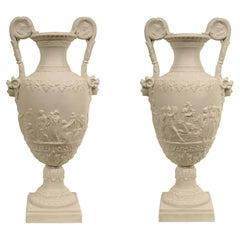 Pair of 19th Century Louis XVI Style Biscuit De Sèvres Porcelain Urns