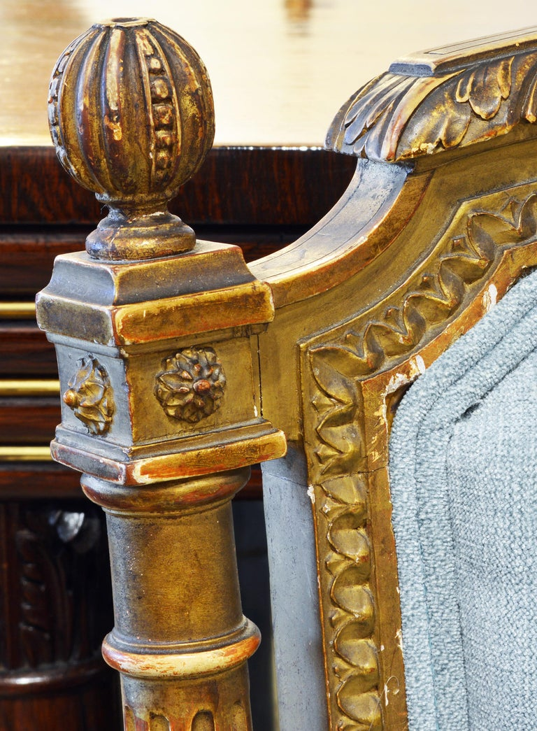Pair of 19th Century Louis XVI Style Carved Giltwood Upholstered Open Armchairs For Sale 4