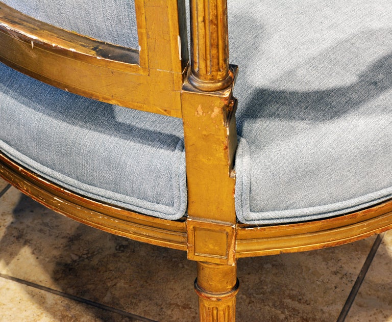 Pair of 19th Century Louis XVI Style Carved Giltwood Upholstered Open Armchairs For Sale 5