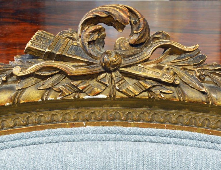Pair of 19th Century Louis XVI Style Carved Giltwood Upholstered Open Armchairs For Sale 1