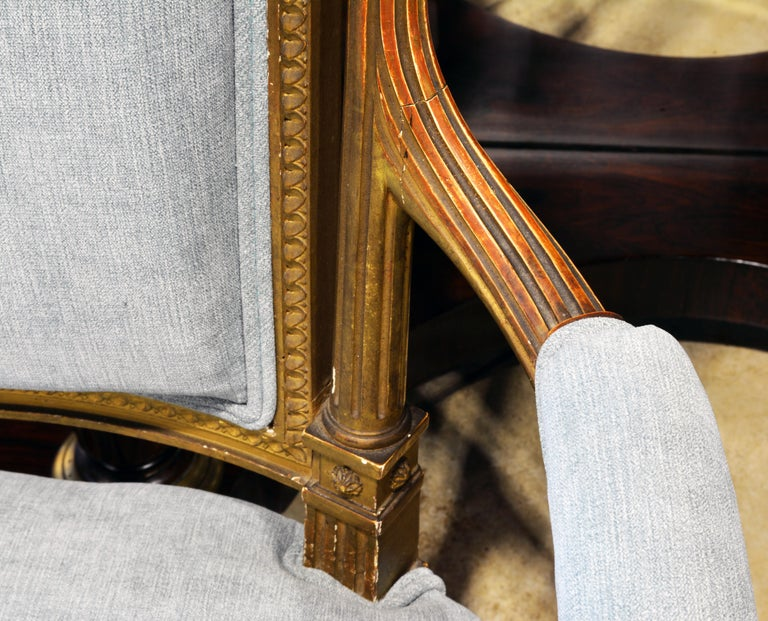 Pair of 19th Century Louis XVI Style Carved Giltwood Upholstered Open Armchairs For Sale 2