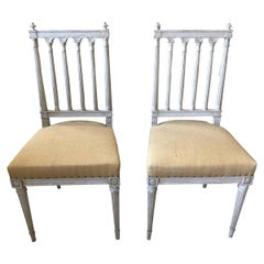 Pair of 19th Century Louis XVI Style French White Painted Side Chairs