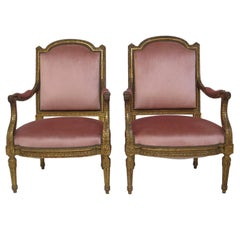 Pair of 19th Century Louis XVI Style Giltwood Fauteuils