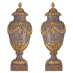 Pair of 19th Century Louis XVI Style Granite and Ormolu-Mounted Lidded Urns