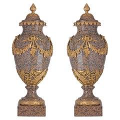 Pair of 19th Century Louis XVI Style Granite and Ormolu-Mounted Lidded Urns