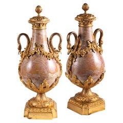 Pair of 19th Century Louis XVI Style Marble Vases
