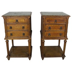 Pair of 19th Century Louis XVI Style Nightstands with Marble Tops