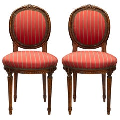 Pair of 19th Century Louis XVI Style Oak Side Chairs