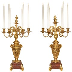 Pair of 19th Century Louis XVI Style Ormolu and Marble Candelabras