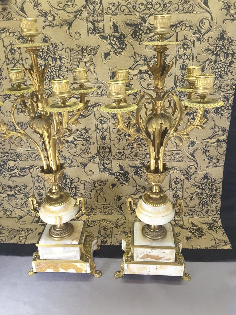 Fine Pair of 19th Century French Louis XVI Style Ormolu and Marble Candelabras For Sale 5