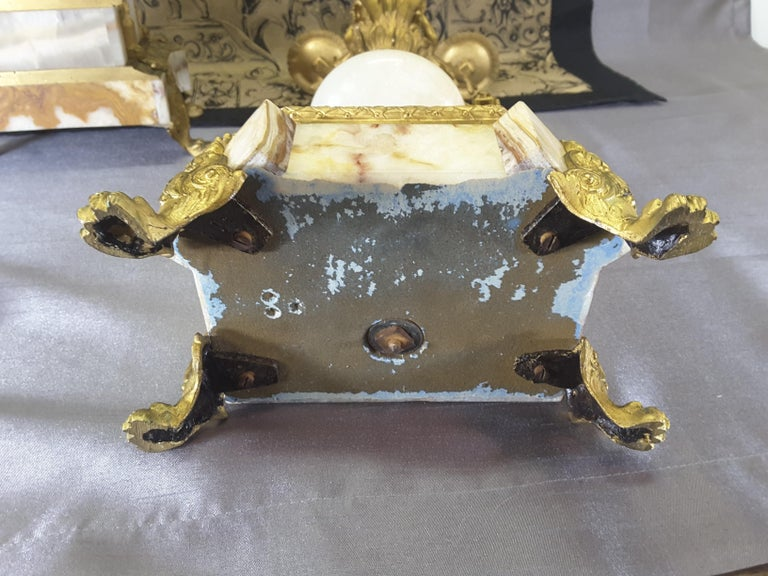 Fine Pair of 19th Century French Louis XVI Style Ormolu and Marble Candelabras For Sale 6