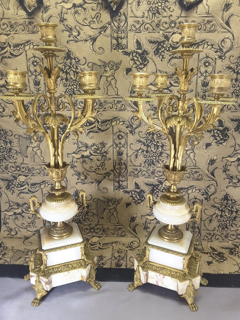 Fine Pair of 19th Century French Louis XVI Style Ormolu and Marble Candelabras For Sale 7
