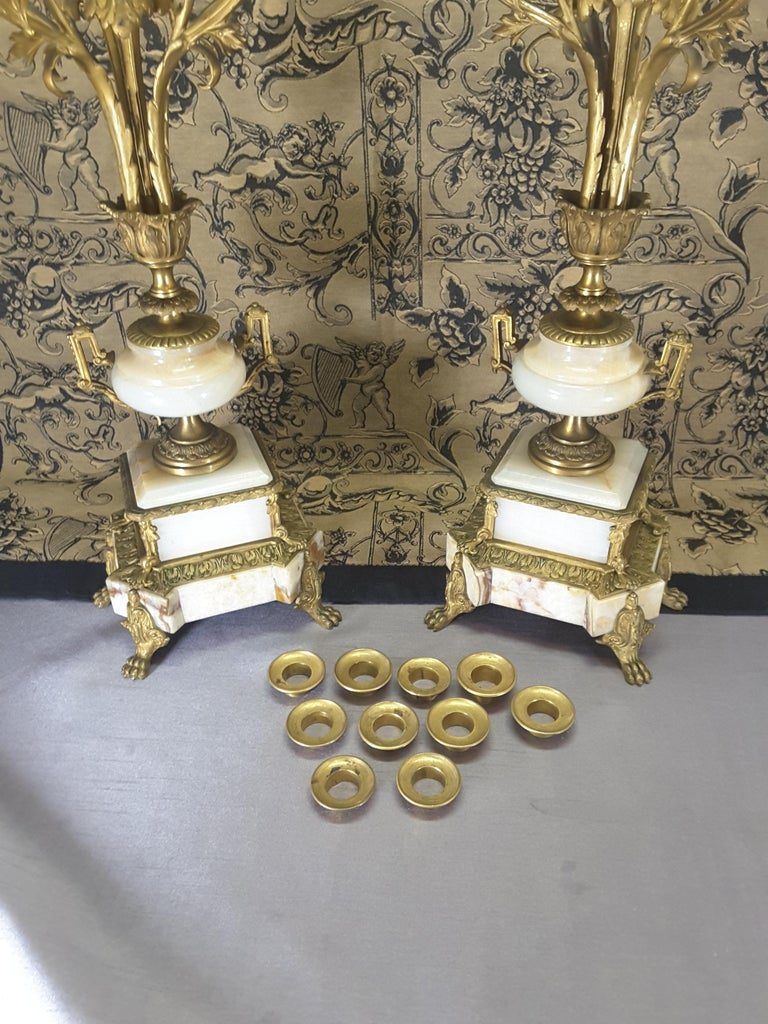 Fine Pair of 19th Century French Louis XVI Style Ormolu and Marble Candelabras For Sale 2