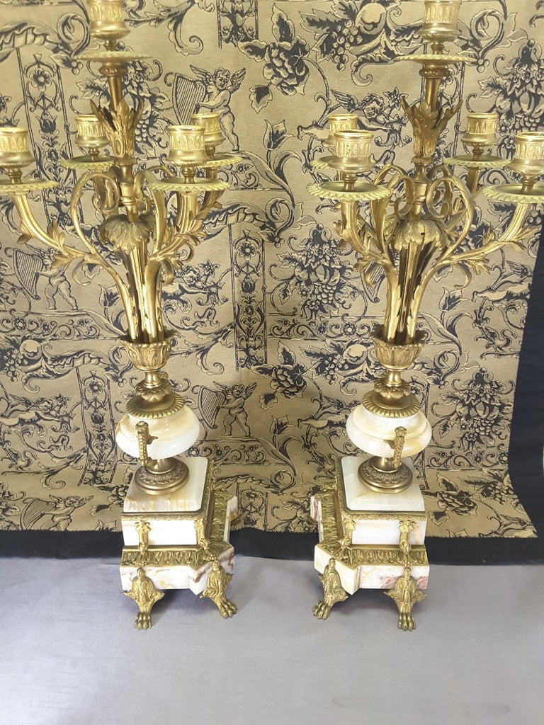 Fine Pair of 19th Century French Louis XVI Style Ormolu and Marble Candelabras For Sale 3