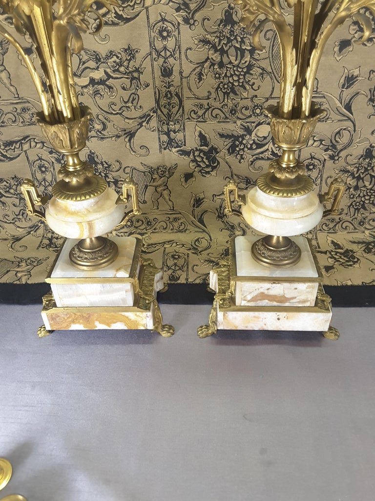 Fine Pair of 19th Century French Louis XVI Style Ormolu and Marble Candelabras For Sale 4