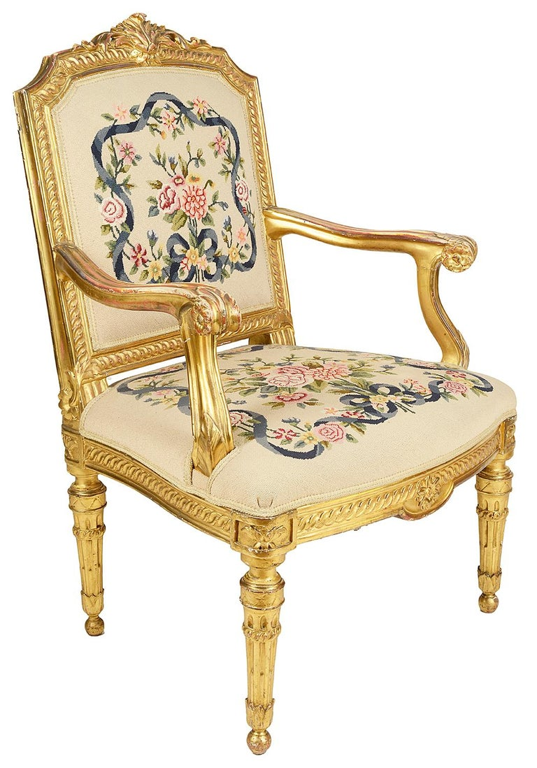 French Pair of 19th Century Louis XVI Style Salon Chairs For Sale - Pair Of 19th Century Louis XVI Style Salon Chairs