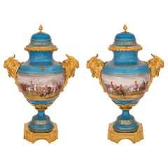 Pair of 19th Century Louis XVI Style Sèvres Porcelain and Ormolu Lidded Urns