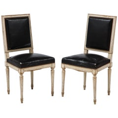 Pair of 19th Century Louis XVI Style Side Chairs with Original Black Leather