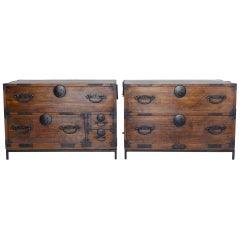 Pair of 19th Century Low Japanese Tansus, Nightstands