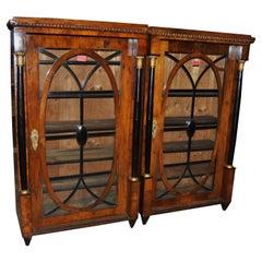 Pair of 19th Century Mahogany and Walnut English Bookcases / Display Cabinets