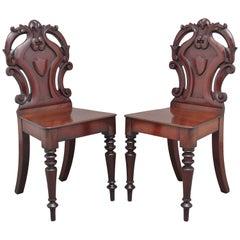 Pair of 19th Century Mahogany Hall Chairs