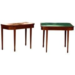 Pair of 19th Century Mahogany Inlaid Sheraton Style Card Tables, Green Felt