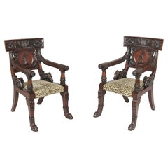 Pair of 19th Century Mahogany Klismos Armchairs after a Design by Thomas Hope