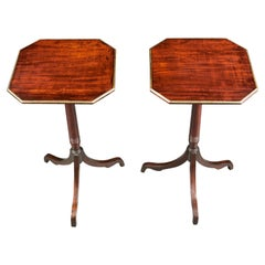 Pair of 19th Century Mahogany Wood and Brass Banded Tripod Tables