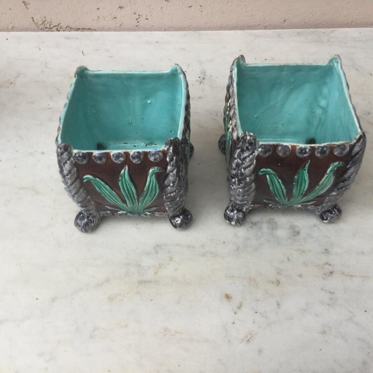 19th century pair of French Majolica lily of the valley jardinieres.
