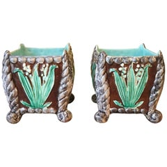 Pair of 19th Century Majolica Floral Jardinieres