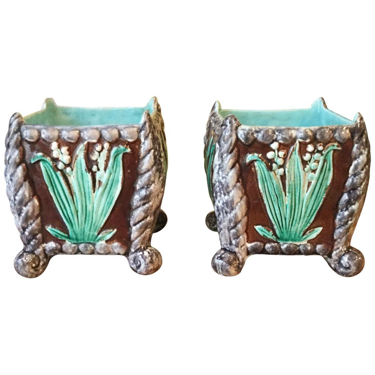 Pair of 19th Century Majolica Floral Jardinieres For Sale
