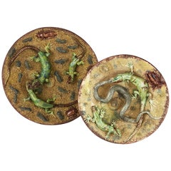 Pair of 19th Century Majolica Palissy Ware Plates with Snakes and Lizards