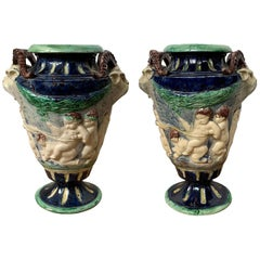 Pair of 19th Century Majolica Pottery Urns with Greek Mythology Scenes