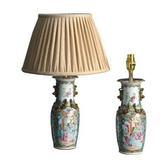 Pair of 19th Century Mandarin Vase Lamps