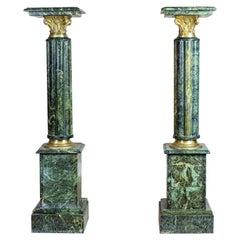 Pair of 19th Century Marble Empire Pedestals