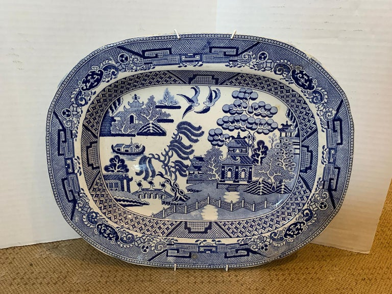 Pair of 19th Century Marked English Staffordshire Blue Willow Pearlware Platters For Sale 6