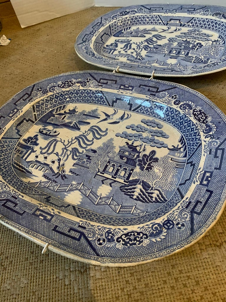 Pair of 19th Century Marked English Staffordshire Blue Willow Pearlware Platters For Sale 7
