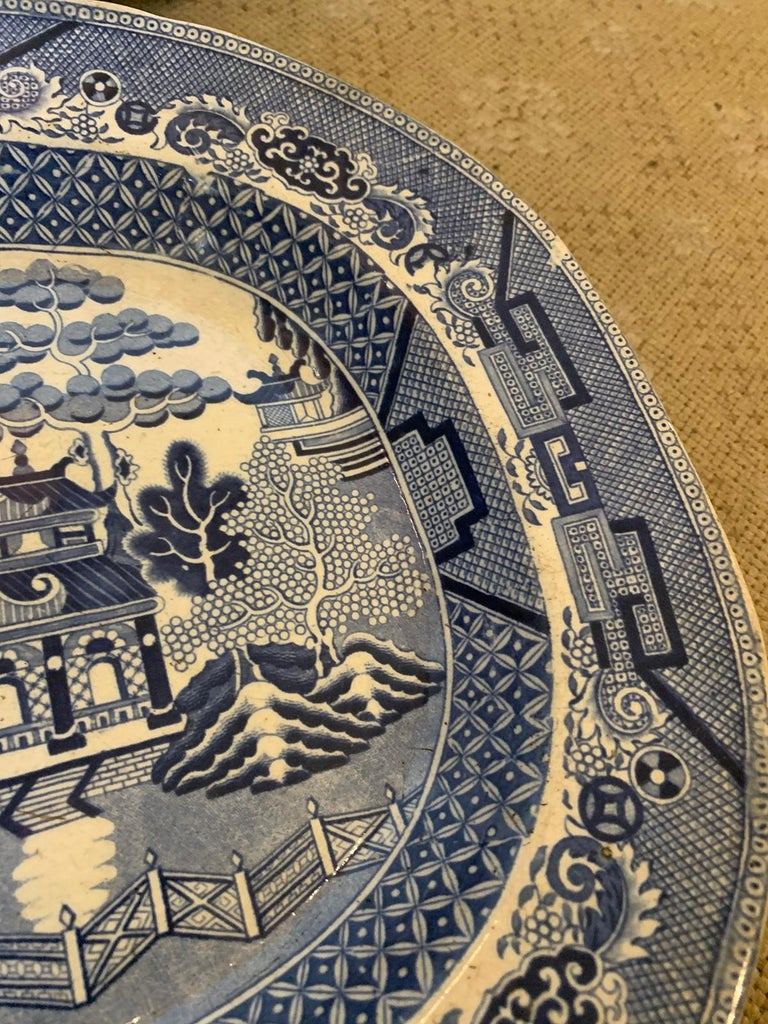 Pair of 19th Century Marked English Staffordshire Blue Willow Pearlware Platters For Sale 8