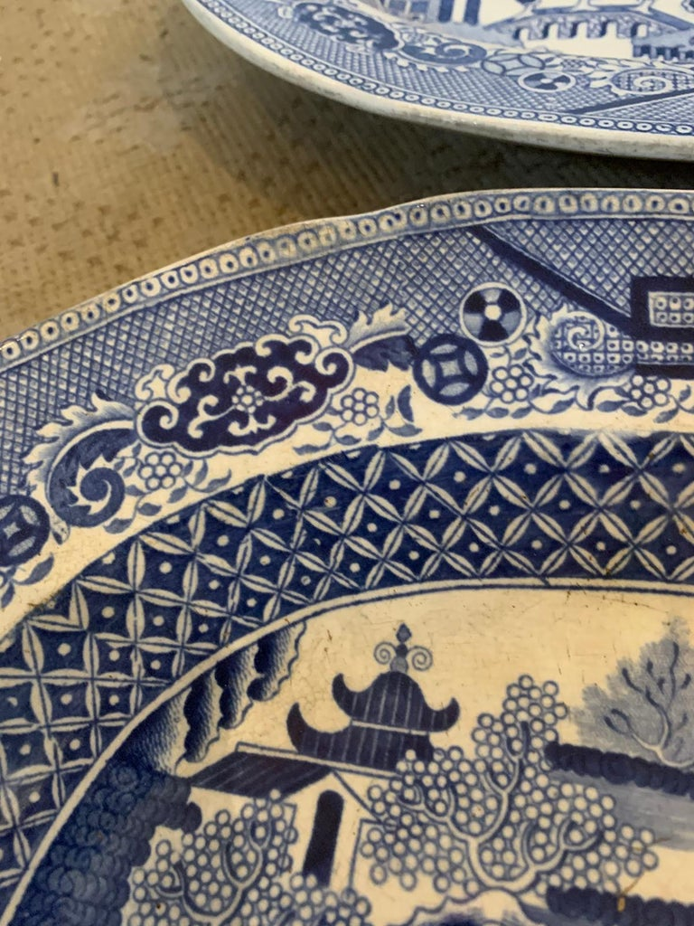 Pair of 19th Century Marked English Staffordshire Blue Willow Pearlware Platters For Sale 10