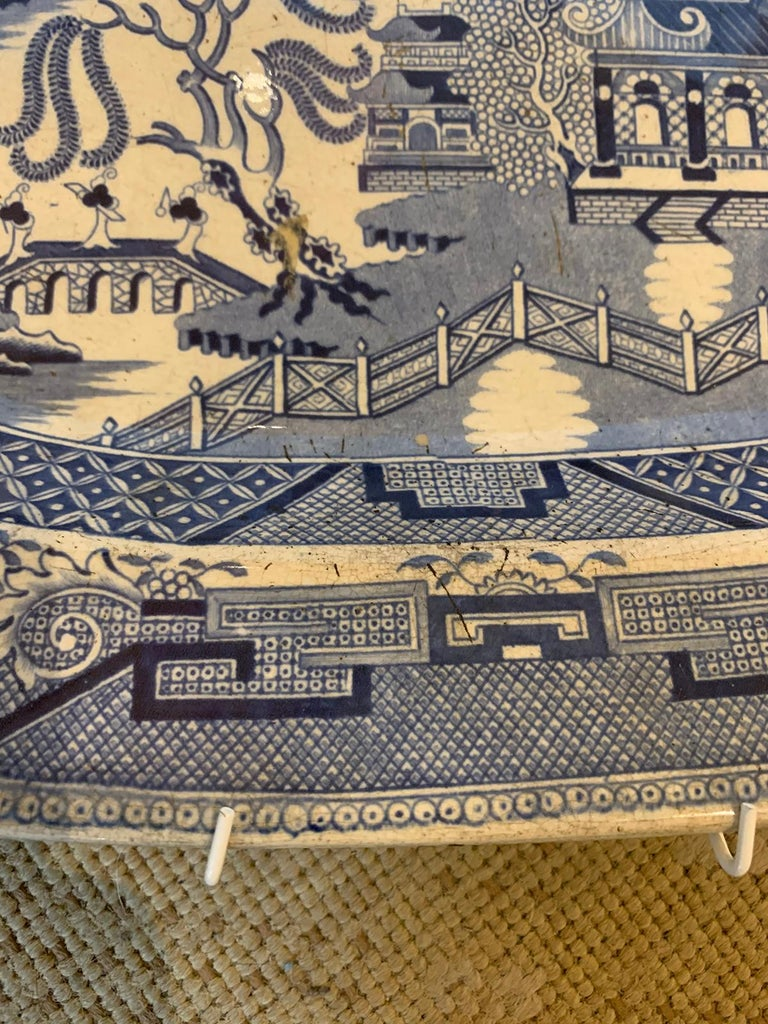 Pair of 19th Century Marked English Staffordshire Blue Willow Pearlware Platters For Sale 11