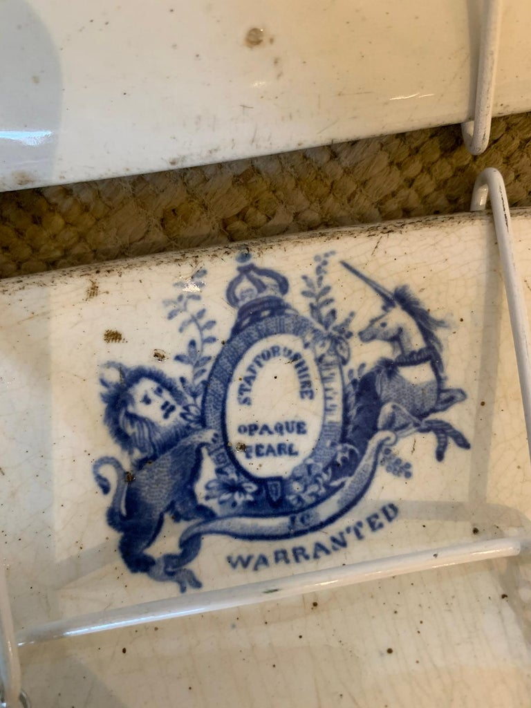 Pair of 19th century English Staffordshire transfer pearlware chargers in blue willow pattern with Royal Coat of Arms Mark & Initials JC (Probably for Joseph Clementson) circa 1794-1871.