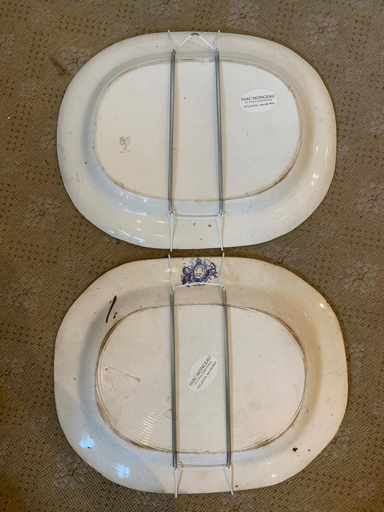 Porcelain Pair of 19th Century Marked English Staffordshire Blue Willow Pearlware Platters For Sale